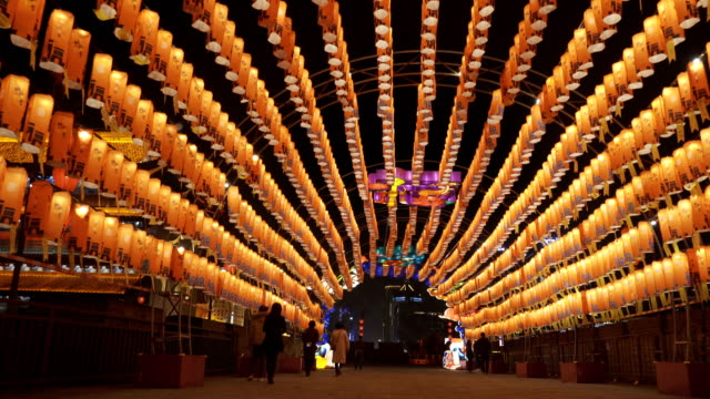 lantern and lighting show at south gate of ancient city wall for celebrate chinese spring festival ,xi'an, shaanxi, china - lantern stock videos & royalty-free footage