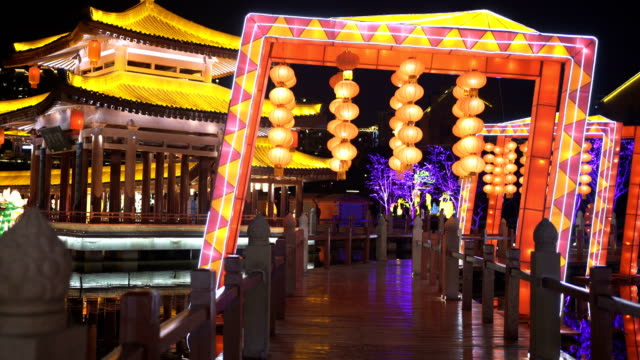 lantern and lighting show for celebrate chinese spring festival ,xi'an, shaanxi, china - traditional festival stock videos & royalty-free footage