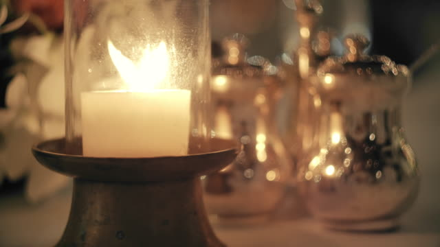 slo mo lantern decoration on dinner - candlelight stock videos & royalty-free footage