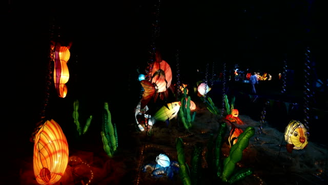 Lantern displays are seen at the Auckland Lantern Festival at the Auckland Domain on March 01 2018 in Auckland New Zealand The Lantern Festival is...