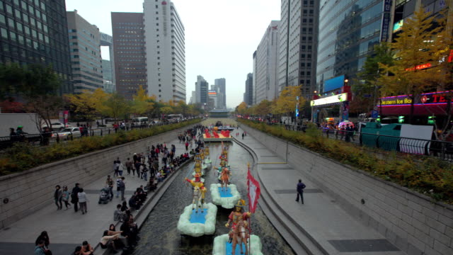 ms t/l lantern festival at cheongyechon creek / seoul, south korea   - animal representation stock videos and b-roll footage