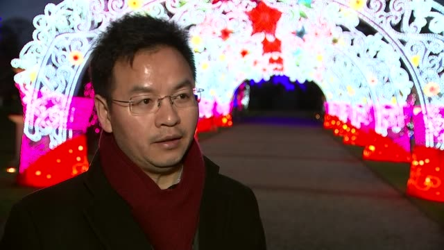 lantern festival starts in chiswick for chinese new year ian xiang interview sot pergola lantern warrior lantern fish lanterns - chinesisches laternenfest stock-videos und b-roll-filmmaterial