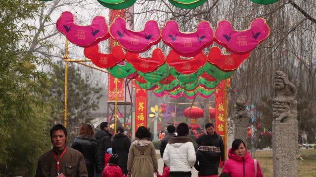 ms td lanterns decoration celebrating for spring festival at small wild goose pagoda park / xi'an, shaanxi, china - chinesisches laternenfest stock-videos und b-roll-filmmaterial