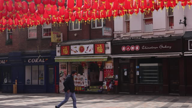 lanterns in chinatown, as chinese new year was celebrated during covid-19 pandemic in london, england, uk, on monday, march 1, 2021. - chinese culture stock videos & royalty-free footage