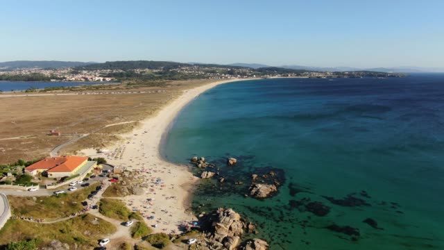 a lanzada beach in galicia, spain - galicia stock videos & royalty-free footage
