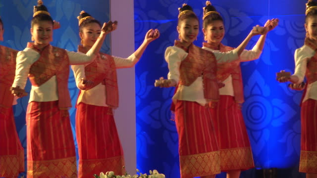 lao dancers perform during the opening ceremonies of the association of southeast asian nations summit the laotian capital vientiane - association of southeast asian nations stock videos & royalty-free footage