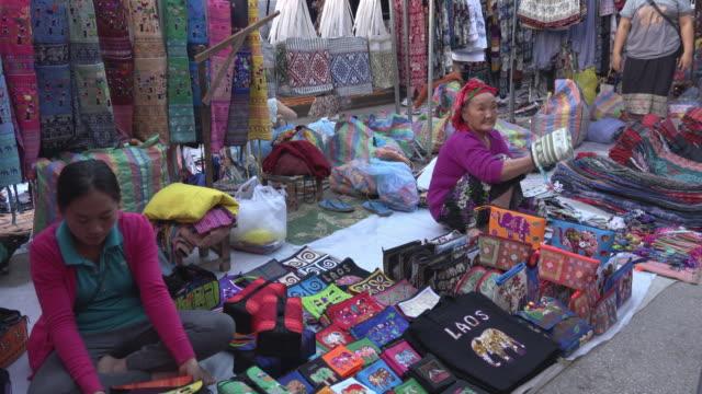 lao vendor on night market - market trader stock videos & royalty-free footage