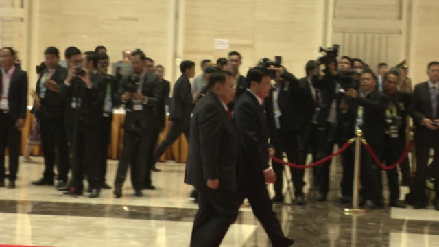 laos prime minister thongloun sisoulith and bounnhang vorachith laos president arrive at the association of southeast asian nations summit the... - association of southeast asian nations stock videos & royalty-free footage