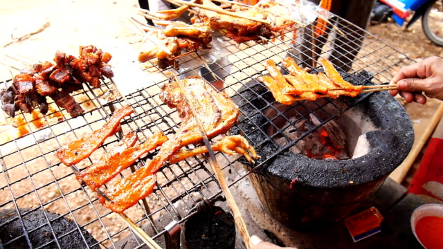 Laos traditional BBQ cooking