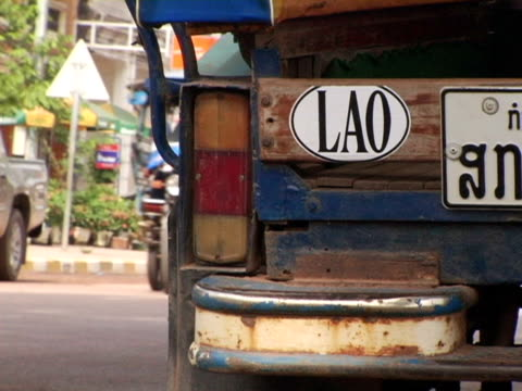 Cu Laos Vientiane Auto Rickshaw With Lao Bumper Sticker High-Res Stock  Video Footage - Getty Images