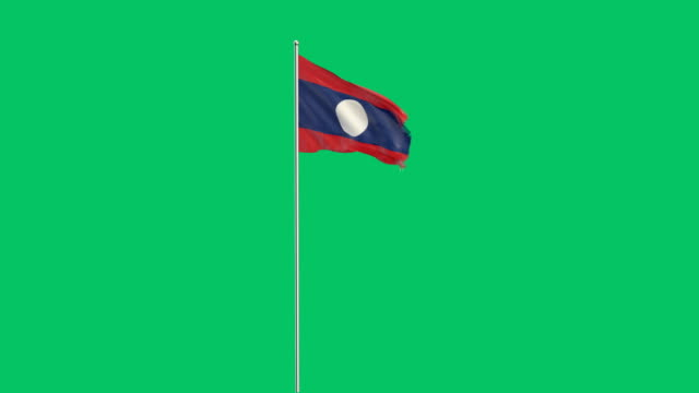laotian flag rising - laos stock videos and b-roll footage