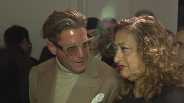 Lapo Elkann and Zaha Hadid at Royal Academy of Arts on February 16 2012 in London England
