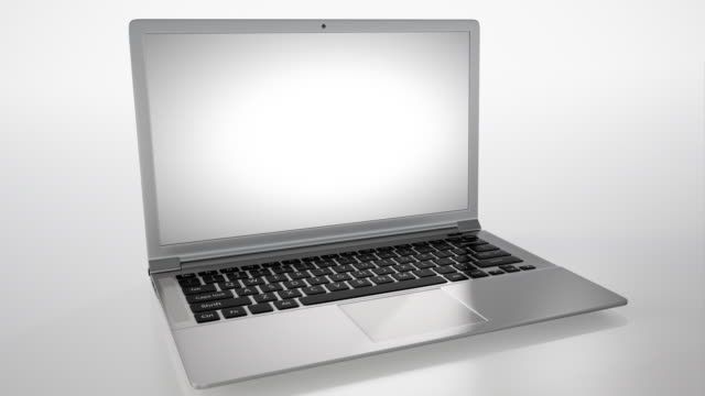 laptop 4k with white background screen lights up - 3d animation stock videos & royalty-free footage