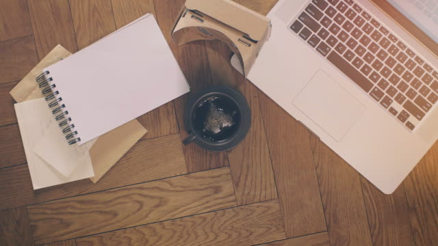 laptop and coffee with office supplies on wood - note pad stock videos & royalty-free footage