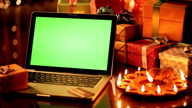 cu pan laptop and diyas with gift box in diwali - credit card stock videos & royalty-free footage