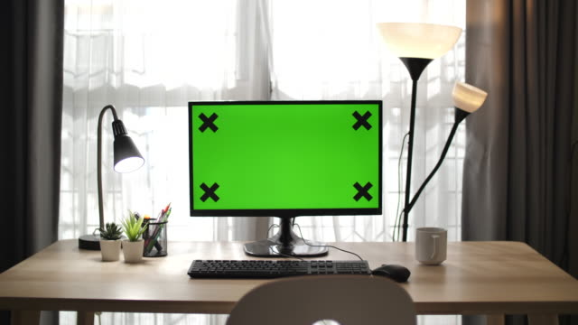 laptop computer with green mock-up scree - blank computer monitor stock videos & royalty-free footage