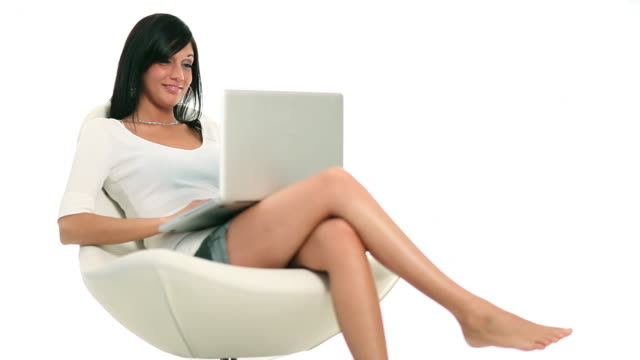 laptop girl - cross legged stock videos & royalty-free footage