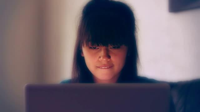 Laptop girl, working.