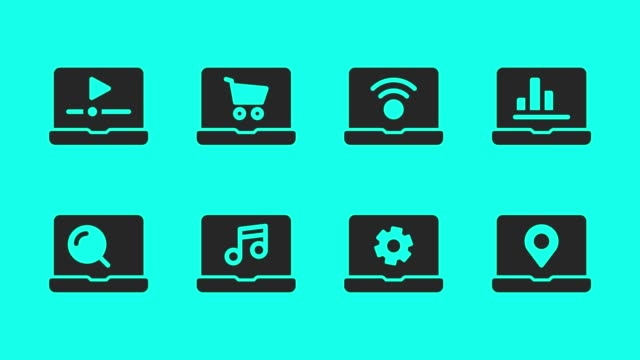vídeos de stock e filmes b-roll de laptop icons - vector animate - lupa