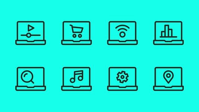 vídeos de stock e filmes b-roll de laptop line icons - vector animate - lupa