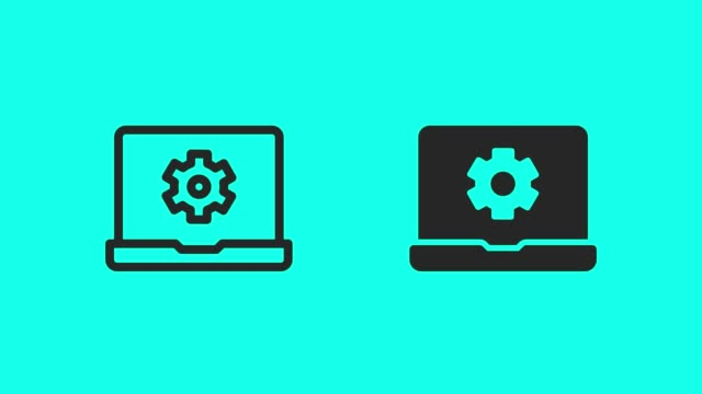 laptop setting icons - vector animate - global communications vector stock videos & royalty-free footage