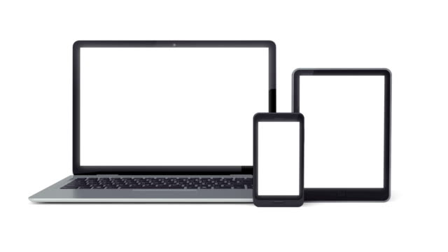 portatile, uno smartphone, un tablet - tre oggetti video stock e b–roll