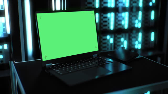 laptop with green screen in server room - blinking stock videos & royalty-free footage