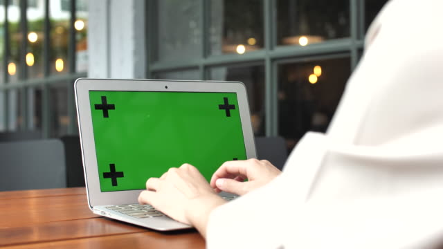 laptop with green screen - computer key stock videos and b-roll footage