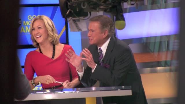 lara spencer interviews regis philbin on 'good morning america' in new york 11/15/11 - regis philbin stock videos and b-roll footage