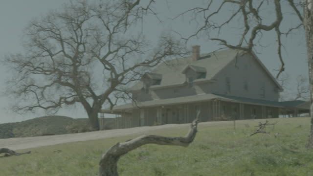 stockvideo's en b-roll-footage met large 2-story rural home w/large front porch; craggy, bare tree prominent in f.g.; numerous views - bare tree