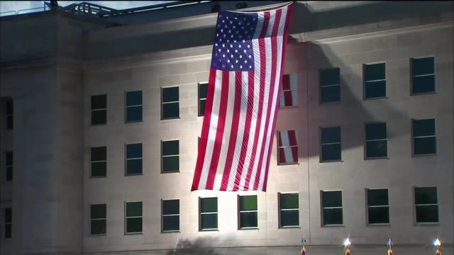 large american flag hung over pentagon on september 11, 2016. - the pentagon stock videos & royalty-free footage