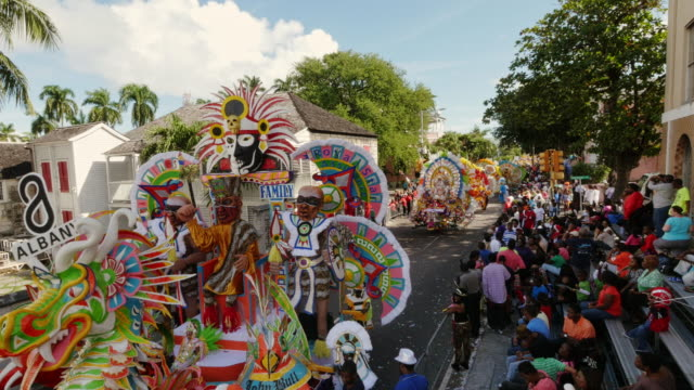 large and colorful junkanoo wagon passing by during a new year's parade in nassau, bahamas - bahamas stock videos & royalty-free footage