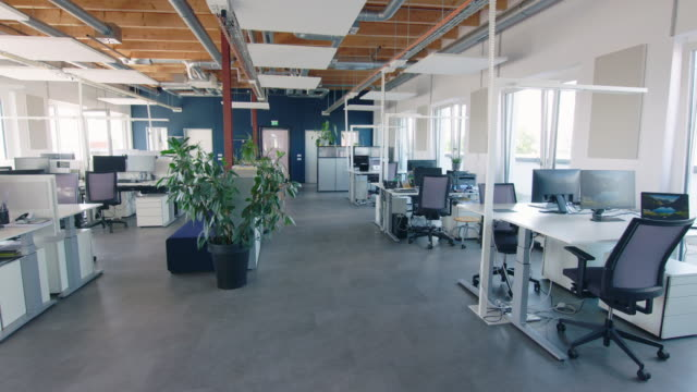 large and spacious open plan office interior - no people stock videos & royalty-free footage