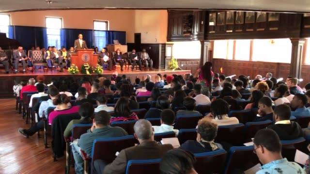 large audience at allen's chappelle auditorium for a founders day 2017 program commemorating the founding of allen university 147th anniversary... - columbia center stock videos & royalty-free footage
