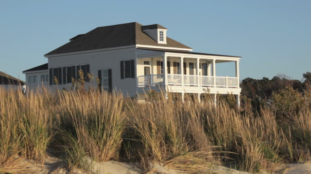 ws large beach house behind dunes / eastville, virginia, usa - eastville stock videos and b-roll footage