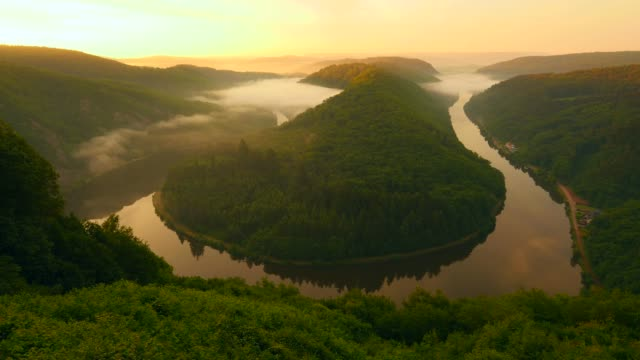 large bend of saar river near orscholz in the morning, mettlach, saarland, germany - tied bow stock videos & royalty-free footage