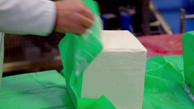 large blocks of margarine used in a factory - block shape stock videos & royalty-free footage