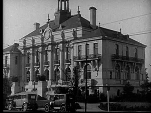 MS, FADE, B&W, Large building and sign Police Station, 1930's