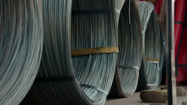 large bundles of thick steel wire in a lorry - unloading stock videos & royalty-free footage