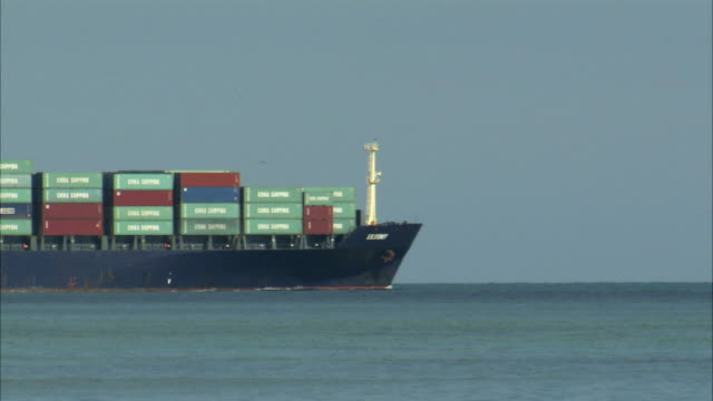 MS Large cargo ship crossing ocean / Miami, Florida, USA