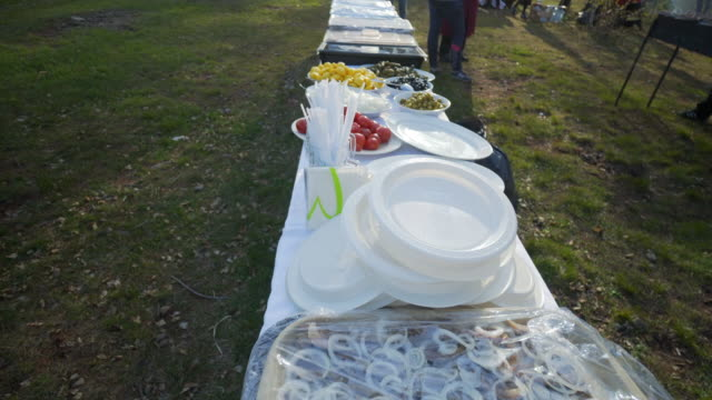 large catering table outdoors with food assortment  - irkutsk, russia - paper plate stock videos & royalty-free footage