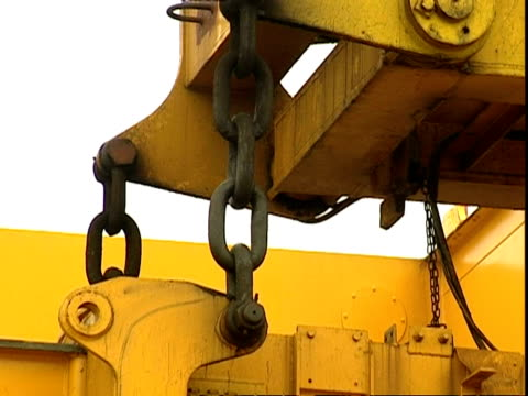 large chains on container crane, container terminal, southampton, uk - durability stock videos and b-roll footage