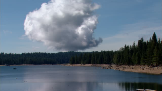 vídeos de stock, filmes e b-roll de ws large cloud over trees + lake/ fresno county, california - fresno