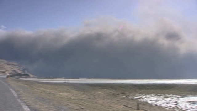 Large clouds of ash and smoke billow in sky following huge eruption from volcano Iceland