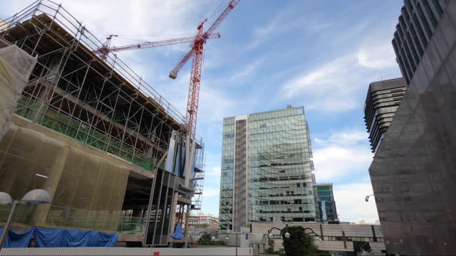 large cranes work on the construction of new buildings at the azca complex on october 9 2020 in madrid spain azca considered the business heart of... - leisure facilities stock videos & royalty-free footage