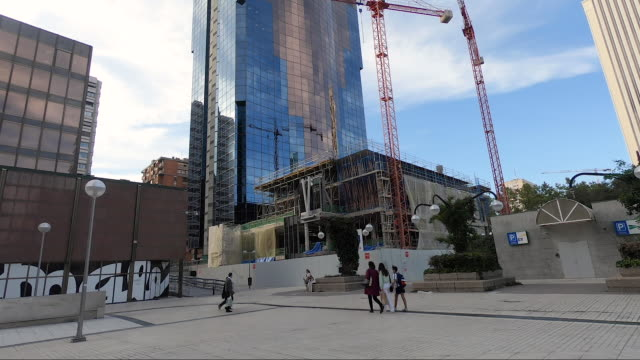 large cranes work on the construction of new buildings in the azca complex on october 9 2020 in madrid spain azca considered the business heart of... - leisure facilities stock videos & royalty-free footage
