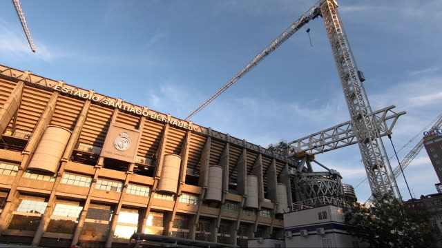 large cranes work on the renovation of santiago bernabeu stadium on october 9 2020 in madrid spain azca considered the business heart of the city is... - leisure facilities stock videos & royalty-free footage
