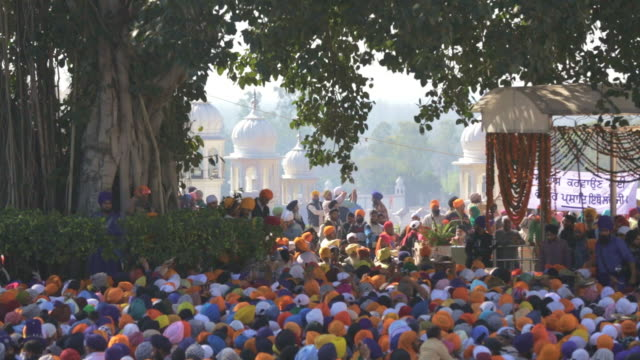 large crowd at sikh hola mohalla festival - punjab india stock videos and b-roll footage