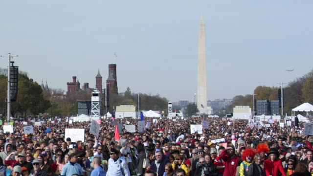 large crowd at the rally to restore sanity and / or fear event on the national mall in washington dc large crowd on the national mall in washington... - {{ contactusnotification.cta }} stock videos & royalty-free footage