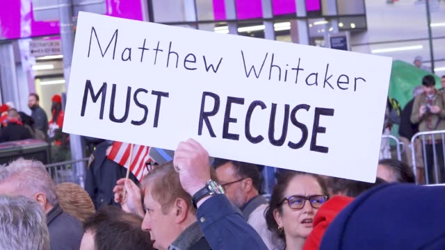 large crowd gathered in times square during the evening midtown rush-hour in opposition to president donald trump's firing of former attorney general... - attorney general stock videos & royalty-free footage